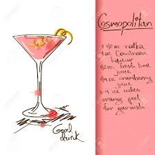 cosmo martini recipe illustration with hand drawn cosmopolitan cocktail royalty free