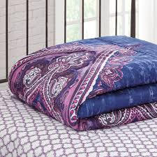 Blue And Purple Comforter Sets Queen Size Mainstays Grace Medallion Purple Bed In A Bag Complete Bedding Set