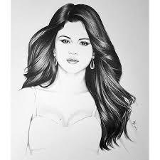 drawn portrait selena gomez pencil and in color drawn portrait