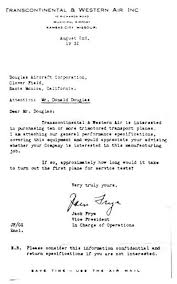 boeing cover letter jack frye aviation pioneer dc1 development u0026 history
