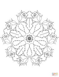 mandala with roses coloring page free printable coloring pages