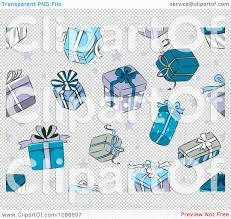 clipart background of blue christmas gifts and stars on white