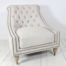 French Linen Armchair French Country 100 Linen Upholstery Fabric Chairs Ebay