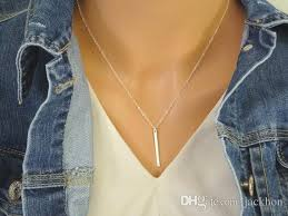necklace pendants personalized images Wholesale n110 gold silver personalized vertical bar necklace jpg