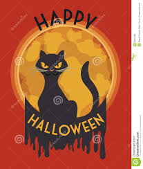 halloween cats background classy stylized mad cat in halloween poster vector illustration