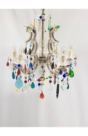 Multi Coloured Chandeliers 5 Arm Therese Chandelier With Multi Coloured Drops