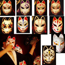 japanese masks traditional noh mask kitsune fox design ebay