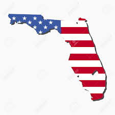 Map State Of Florida by Map Of The State Of Florida And American Flag Illustration Stock