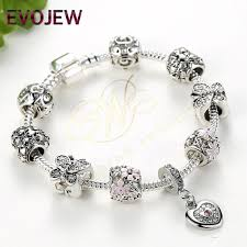 silver charm bead bracelet images Antique silver charm bracelet with heart and flower crystal beads jpg