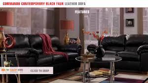 Contemporary Black Leather Sofa Commando Contemporary Black Faux Leather Sofa By Signature Design