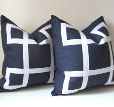 set of two navy blue pillow covers 18 inch decorative