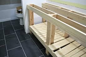 Building A Bathroom Vanity How To Build A Diy Open Bathroom Vanity From Thrifty Decor
