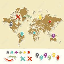 Map With Pins Hand Drawn World Map With Pins And Arrows Vector Design Cartoon
