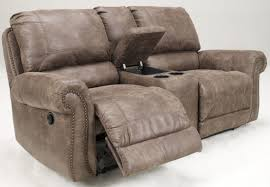 Double Recliner Oberson Gunsmoke Double Reclining Loveseat With Console From