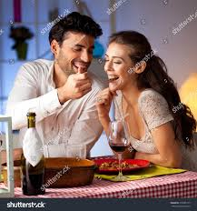 Romantic Dinner At Home by Romantic Couple Having Dinner Home Stock Photo 219585175