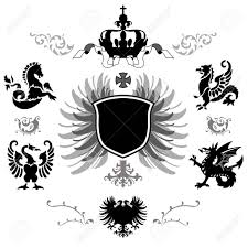 vecor of arms with different supporters crown and
