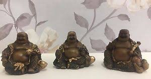 wood effect with gold detail laughing lucky buddha ornaments