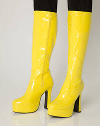 womens boots yellow yellow gogo boots womens retro knee high platform boots size 4