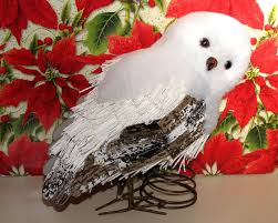 snowy owl tree topper ornament pottery barn winter arctic decor