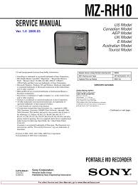 sony md recorder player mz m100 mz rh10 service manual