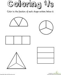 coloring shapes the fraction 1 3 worksheet education com