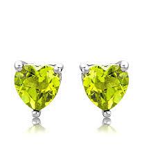 byjoy jewellery byjoy 925 heart shaped peridot stud earrings co uk jewellery