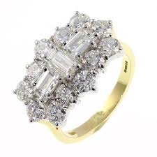 gold engagement rings uk 18ct yellow gold 3 80ct baguette diamond cluster ring jewellery