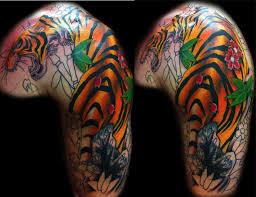 awesome color ink tiger on left shoulder