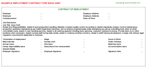 chef employment contracts