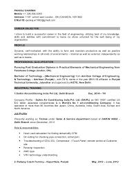 Resume For Fresher Mechanical Engineer Sample by Resume Of Fresher Mechanical Engineer Contegri Com