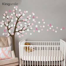 Wall Nursery Decals Modern Flower Tree Wall Sticker White Cherry Blossom Branch Vinyl