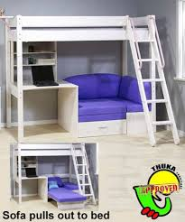 Loft Bed With Desk On Top Bunkbed With Futon And Desk Thuka Maxi Maxi White 7 Loft Bed