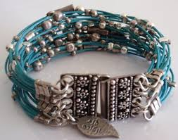 leather bracelet with silver beads images Turquoise leather bracelet with silver beads anat ventura JPG