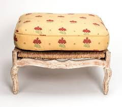 Ottoman Translation by 1920s French Painted Rush Seat Armchair And Ottoman For Sale At