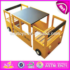 bus wooden kids study table and chair study table with