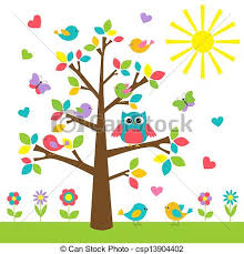 colorful tree with owl and birds vector clipart search