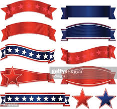 patriotic ribbon patriotic ribbons stickers and set white blue vector