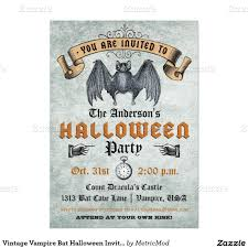 Vintage Vampire Bat Halloween Invitation Halloween Invitations