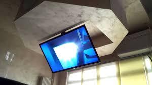 Drop Down Tv From Ceiling by Tv Ceiling Lift Flip Drop Down Swivel Flip 900 Youtube