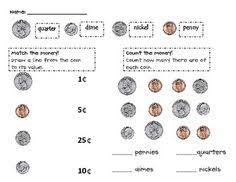 coin identification worksheet free worksheet to assess whether they can identify and match