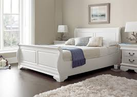 White Wood Bed Frame The Louie White Sleigh Bed Is The Perfect Addition To Any Bedroom