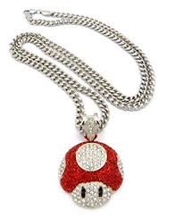 red chain link necklace images Mushroom face pendant mens iced out hip hop cuban link 30 quot chain jpg