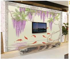 compare prices on wall murals fish online shopping buy low price 3d wall murals wallpaper hand painted fish wisteria living room wallpapers home decoration modern