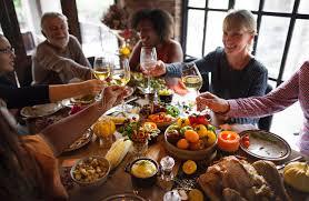 cheers celebrating thanksgiving concept stock image