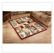 themed rug elk moose deer area rug wildlife themed carpet patchwork