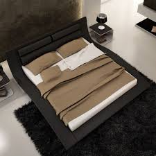 modern bedroom design with black low profile king bed frame with
