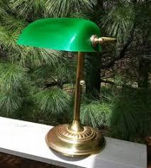 green glass shade bankers l fluted green shade desk l bankers l vintage gooseneck l