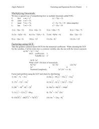 Factoring X2 Bx C Worksheet Multiplying Binomials