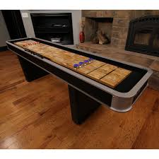 How To Play Table Shuffleboard Atomic 9 Ft Platinum Shuffleboard Table Hayneedle