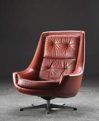 Red Leather Swivel Chair by Vintage Retro Danish H W Klein Buttoned Leather Lounge Swivel